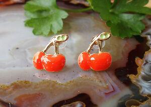 Rw Orecchini a Farfalla Ciliegie Arancione Rosso Smaltato Placcato Oro