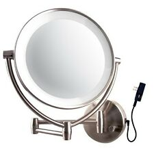 "Makeup Mirror Lighted Led Wall Mount Swivel 10x Magnify Brushed 9.5"" Bathroom"