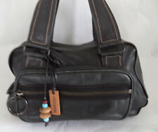 HIDESIGN BLACK LEATHER BAG HANDBAG DOUBLE STRAPS