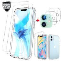 For iPhone 12,12 Pro Max Clear Case Cover+Screen Protector+Camera Lens Protector