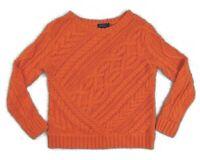 $298 NWT Women Polo Ralph Lauren Blue Label Crewneck Cable Knit Heavy Sweater S