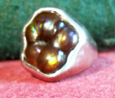 Fabulous Heavy Mens 14k Slaughter Mountain Fire Agate White Gold Ring ~size 14~
