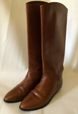 ETIENNE AIGNER  boots 8 Classic Riding Brown Vintage Leather Pull on