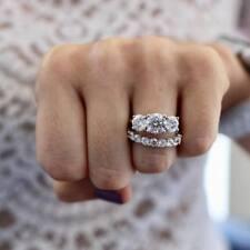 2.00ct Round Diamond Three-Stone Engagement Bridal Ring Set 14k White Gold Over