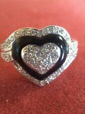18K White Gold Diamond & Onyx Heart Shape Ring~Size 5-1/2~6.2Gr.