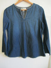 OLD NAVY MATERNITY womens jean tunic jumper top S SMALL long sleeve split v-neck