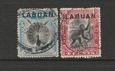 Labuan 19000/02 optd Labuan, 4c & 5c P 13.5 X 14, Usado