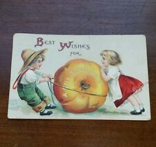 Vintage Postcard 1908 Children Moving Large Pumpkin Thanksgiving Greeting