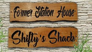 Personalised Oak Carved  Wooden  House Number Name Sign Address Plaque Outdoor