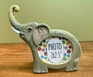 """Mini Elephant Resin Photo Frame, Fits 2x2.5"""" Picture, Small Wildlife Themed Gift"""