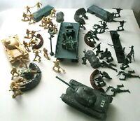 Lot of 65 Piece War Battlefield Green, Tan Army Men, Tanks & Accessories