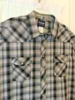Wrangler Western Shirt Pearl Snap Black gray short sleeve 3XT Tall Plaid NWOT