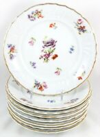 FAB SET 6 SALAD PLATES FRAUREUTH CHINA 35450 DRESDEN FLOWERS EMBOSSED GOLD WHITE