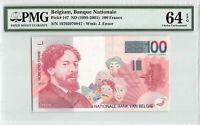 Belgium ND (1995-2001) P-147 PMG Choice UNC 64 EPQ 100 Francs