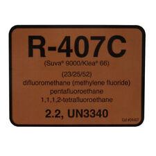 R-407C / R407C SUVA 9000 / KLEA 66 Refrigerant ID Label # 04407 , SOLD EACH