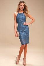 Lulu's Wishful Wanderings Blue Lace Bodycon Midi Dress Large Halter Formal