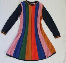 Mini Boden Girls Sparkle Stripe Glitter Rainbow Knitted Dress Size 6-7Y