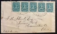 1895 San Luis Potosi Mexico Cover To Hamilton OH USA Via Nuevo Laredo