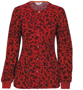 Scrubs Code Happy Snap Front Warm-Up Jacket In Little Leopard 46303A ATTL  XXS
