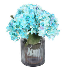 3Pcs Arts Artificial Hydrangea Flowers Fake Silk Bouquet Wedding Home Decor(Blue