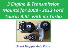 3 Motor Mounts Fit for 2008 - 2012 Ford Taurus 3.5L No Turbo Engine & Transmissi