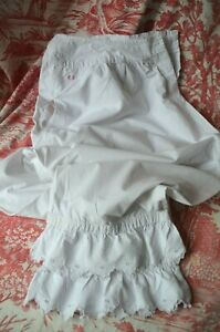 Antique cotton shorts or bloomers, French under wear boudoir, eyelet lace frils