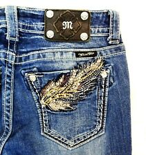 Miss Me Boot cut Sz 28 x 29 Jeans Distressed Bejeweled Embellished Pockets
