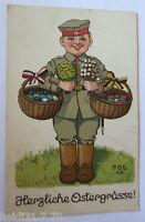 Ostern, Soldat, Korb, Ostereier, 1915, sig. P.O.E. 15  ♥ (24343)