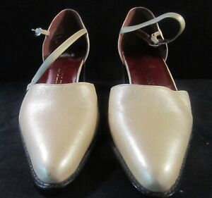 """Enzo Angiolini Gold Shoes with Ankle Strap Size 6 Medium 2 1/2"""" Heel"""