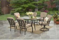 Outdoor Dining Set 7 Piece Glass Top Table 6 Chairs Patio Deck Garden Furniture
