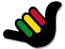4x4 inch Hand Shaped Hang Loose with RASTA Stripes Sticker - weed pot reagge