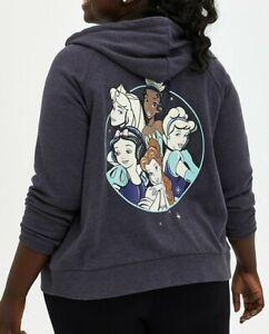 Torrid Disney Multi Princess Gray Zip Up Fleece Sweatshirt Hoodie Size 2 2X NWT