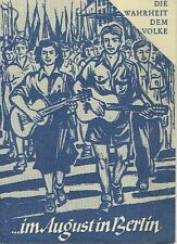La verdad al pueblo 18 propaganda DDR 1950 en el mes de agosto en berlín mundo festivales