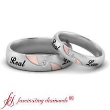 Engraved Matching Wedding Bands For Couples Bezel Set Round Cut Diamond Two Tone
