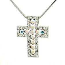 Cross W Swarovski Crystal Clear AB Lord God Jesus Christ New Pendant Necklace