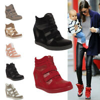 Ladies Womens Wedges Heels Sports Lace Up High Top Trainers Sneaker Ankle Boots