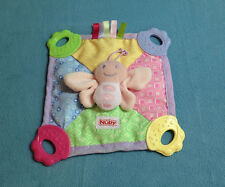 Nuby Plush Pink Butterfly Baby Security Blanket Crinkle Teether Tag Lovey EUC