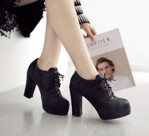 Womens Retro Block High Heels Round Toe Platform Lady Casual Lace Up Pumps Shoes