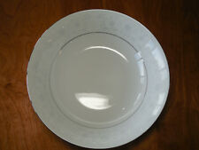 "Crown Ming Fine China QUEEN'S LACE Round Vegetable Serving Bowl 9"" Wht on Wht"