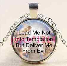 Lords Prayer Stairway to Heaven silver Glass Chain Pendant Necklace #1489