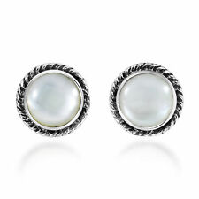 Classic & Stylish Round Mother of Pearl on Sterling Silver Stud Earrings