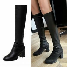 Women Ladies Leather Mid Calf Boots Round Toe Zipper Motorcycle Combat Boots New