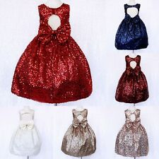 Full Sequence Keyhole Flower Girl Dress Wedding Pageant Holiday 2 4 6 8 10 12 14