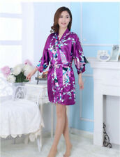 2018 New Silk Wedding Bride Bridesmaid Robe Women Floral Bathrobe Kimono Robe