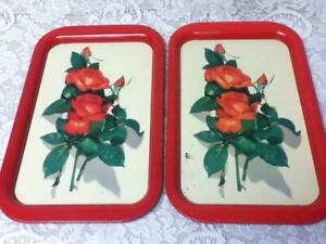 Vintage, Pair of  Floral- Red Roses Tin Tray  15in x 9in