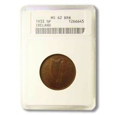 Ireland Half Penny 1933 Key Date ANACS MS 62 Brown