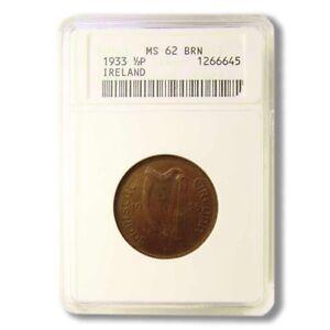 Ireland Half Penny 1933 Key Date ANACS MS 62 Brown