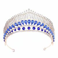 Six Color Bridal Rhinestone Peacock Pageant Hair Tiara Veil Headband Prom Crown