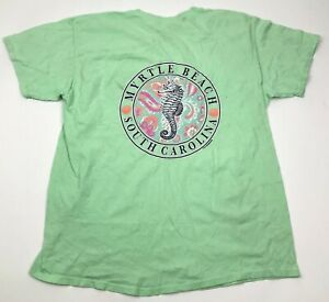 VINTAGE Myrtle Beach South Carolina Shirt Size Large L Lime Green Sea Horse Tee