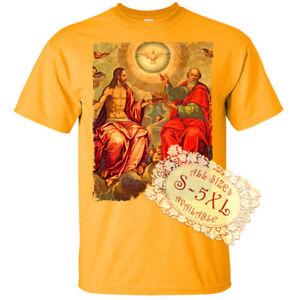 Holy Trinity V7 Jesus God Son Holy Spirit Print DTG T SHIRT All sizes S-5XL